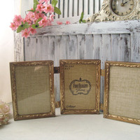 Vintage Filigree Gold Frames, Trifold 5 x 7 Metal Frames, Ornate Frames, Wedding Decor, Cottage Chic, Shabby Chic