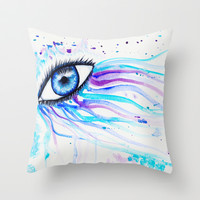 Iridescent Eye Throw Pillow by Susaleena
