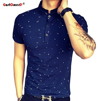 Guitar Printed Stand Collar Polo Shirt Men Short Sleeve Casual Men Shirts Slim Fit Polo Homme Cotton Mens Polos