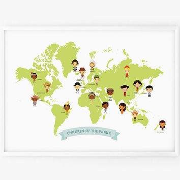 World Map - Map of the World Children with Traditional Costume Illustration Poster Print 13 x 19