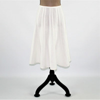 White Skirt Rayon Linen Skirt Women Medium Flared Skirt Midi Skirt Size 8 Skirt Womens Clothing