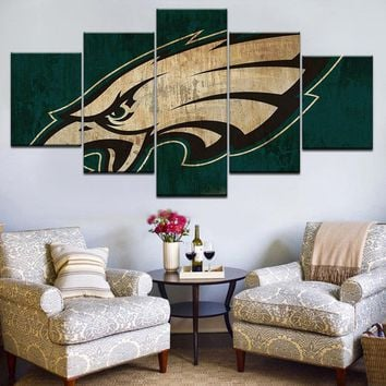 5pcs HD Printing Canvas Painting Sports Football Team Philadelphia Eagles Art Group Home Decor Wall Poster Modular Picture