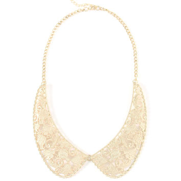 Gold peter pan collar necklace, gold statement necklace, gold detachable collar necklace