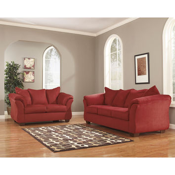 Signature Design by Ashley Darcy Living Room Set in Salsa Fabric