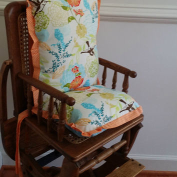 Floral Hummingbird  High Chair Cushions, High Chair Pads, High Chair Cover, Highchair Pads, Wooden Highchair Cover