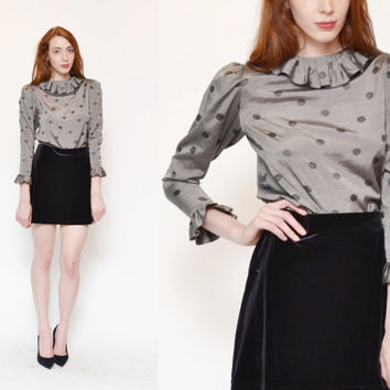 70s 80s METALLIC silver black polka dot silky blouse // retro mod printed RUFFLE collar dolly lolita button up knit dress shirt top