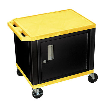 H. Wilson Mobile Multipurpose Storage Utility Tuffy Cart Lockable Cabinet No Electric Yellow Black Legs