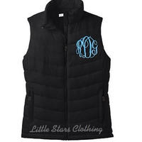SALE-Limited Time-Monogrammed Full Zip Puffy Vest- available in sizes XSmall-XXLarge