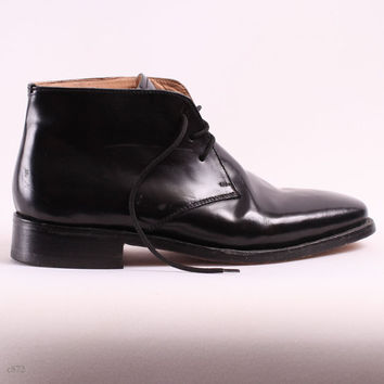 Mens Ankle Boots / Black Leather Boots / eur 40, us 7.5, uk 7