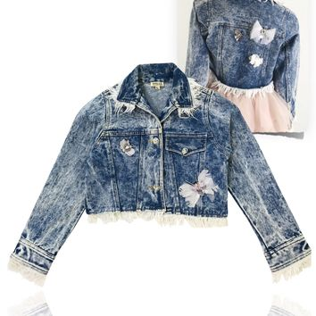 [ PRE ORDER !] DOLLY by Le Petit Tom ® ANGELS butterfly denim jacket