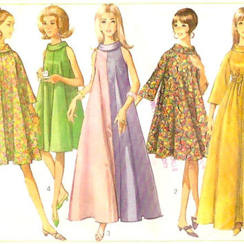 60s mod dress Bell shaped sleeves Tent dress style vintage sewing pattern Simplicity 6794 Wedding bridesmaid Bust 38 UNCUT