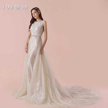 Detachable Outskirt A Line Wedding Dress