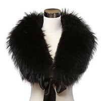 Ferrand Women's Large Real Genuine Racoon Fur Shawl/Wrap/Stole/Scarf/Collar Neck Warmer With Ribbon Black