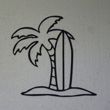 Palm Tree and Surfboard Tropical Decor Metal Wall Art