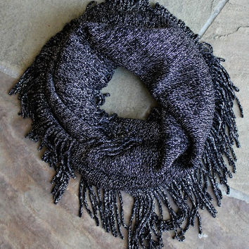 Black and Metallic Silver Fringe Infinity Scarf