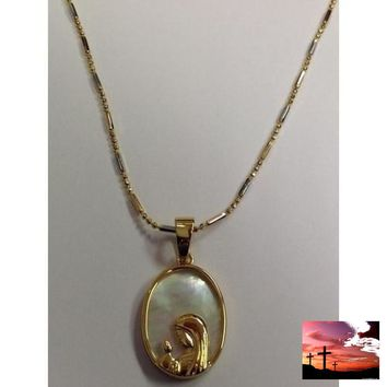 "Gold Electroplated 18"" Necklace with Mother-of-Pearl Pendant in a Gift Box"