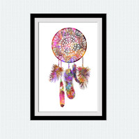 Dream catcher print Dream catcher poster Dream catcher watercolor print Home decor Wall hanging art Kid room decoration Christmas gift  W273