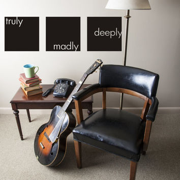 Wall Decal Words Love Expressions Saying Quote Phrase Typography Lettering Truly Madly Deeply Inspiration Valentine's Day Romance