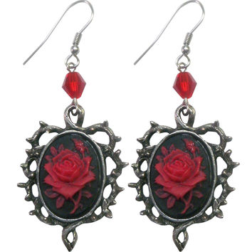 Red Rose Cameo Thorn Earrings