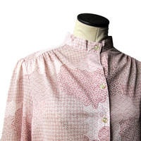 Vintage Oriental Graff Californiawear High Collar Blouse 1960s