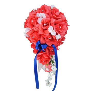 Cascade Bouquet - Coral Artificial Roses with White Hydrangea - Pick Ribbon Color Below