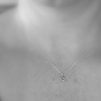 tiny heart necklace, sterling silver, simple necklace, small open heart necklace, delicate dainty, modern minimalist jewelry, moms gift