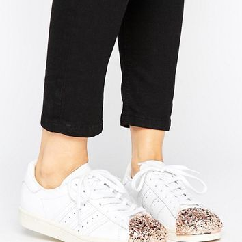 adidas Originals White Superstar 80S Trainers With Rose Gold 3D Metal Toe Cap at asos.com