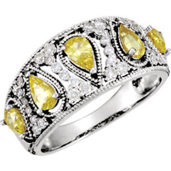14K White Canary Yellow Sapphire & 1-3 CTW Diamond Ring