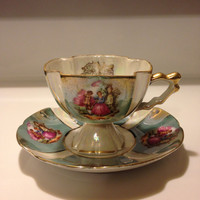 Lefton Footed Teacup and Saucer Iridescent Luster Sage Green Rose Pleated Flared Regency Couple