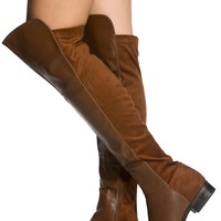 Tan Faux Leather Two Toned Over the Knee Boots