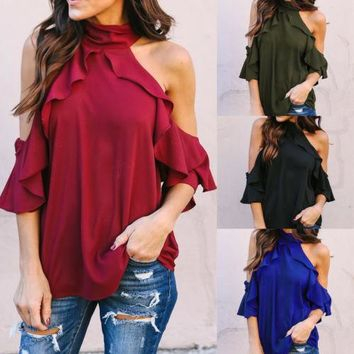 Fashion Women Ladies Clothing Tops Short Sleeve Loose Blouse Casual Shirt Summer Tops Blouses Women