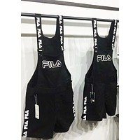 FILA Full printed B-AG-CLWM suspender pants super cute Black