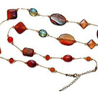 Necklace Handcrafted Glass and Crystal Beads