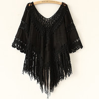 Sexy Hollow Tassel Wave V Neck Knit Shirt