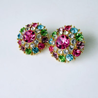 Multi Color Round Prong Set Rhinestone Earrings Post Back Festive Colorful Collectible Gift Item 2363