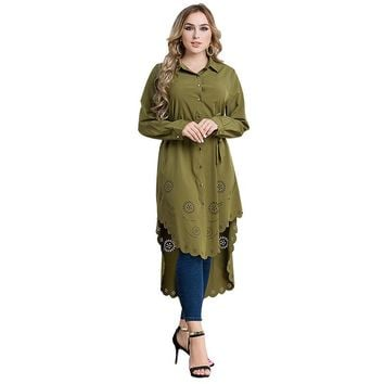 Malaysia Muslim Long shirt 2017 Autumn Long sleeved Plus size 6XL Long all-match hollow out shirt