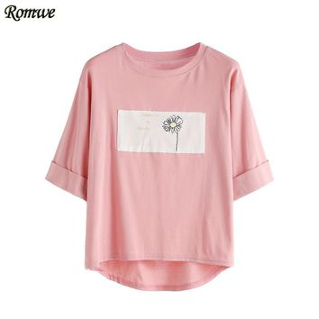 Summer Female Pink Contrast Daisy Print Half Sleeve High Low Cuffed T-shirt