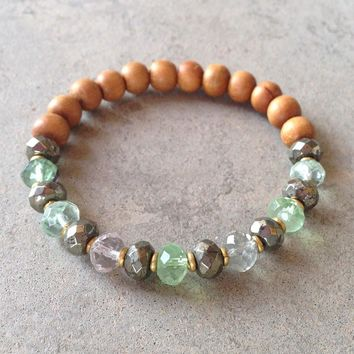 Sandalwood, Pyrite and Fluorite Bracelet