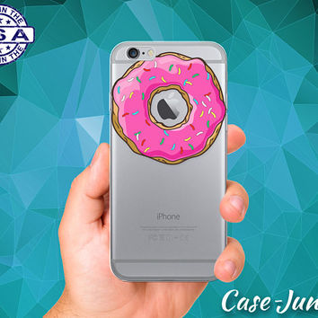 Pink Donut With Sprinkle Doughnut Cute Tumblr iPhone 5 iPhone 5C iPhone 6 iPhone 6s iPhone 6s Plus and iPhone SE iPhone 7 Plus Clear Case