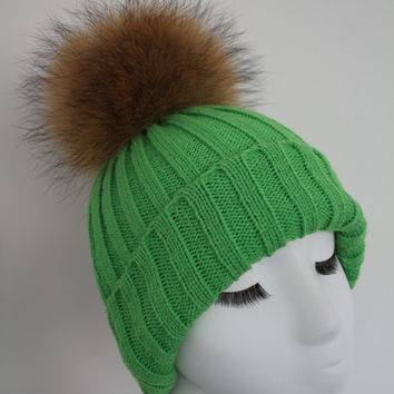 Bright Green Raccoon Fur Pom Pom Hat