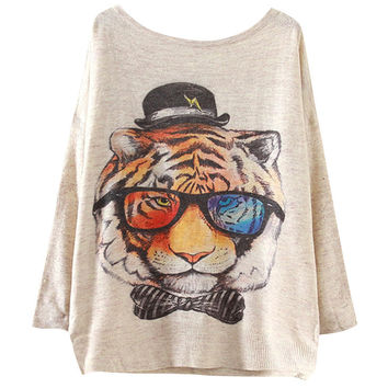 Tiger Print Ribbed Sleeve Mesh Sweater