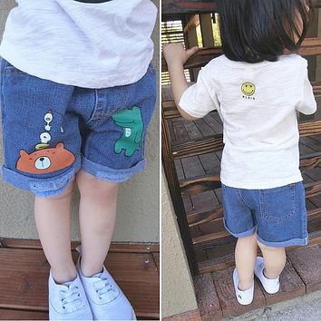 Girls in denim shorts 2017 summer new children's cartoon hot pants cuffs