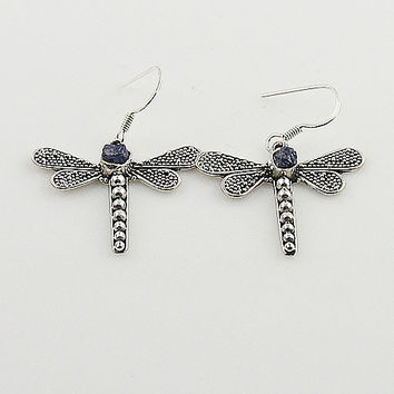 Tanzanite Crystal Drusy Sterling Silver Dragonfly Earrings