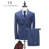 TIAN QIONG Men Clothing England Style Men Suit Double Breasted Blazer Plaid Suits (Jacket+Pantst) Slim Fit Groom Tuxedos for Men