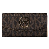 """Michael Kors"" Women MK Purse Classic Fashion Metal Logo Letter PU Long Section Double Layer Button Flip Wallet Handbag"