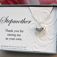 Stepmother necklace gift for stepmom 925 sterling silver heart necklace, Thank you for raising me as your own