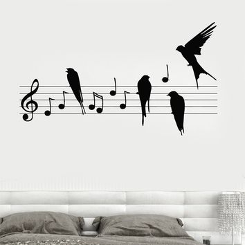 Wall Decal Notes Music Birds Romantic Bedroom Vinyl Sticker Unique Gift (z3237)