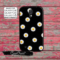 Daisy Flower Pattern Yellow Black Cute Vintage Retro Custom Galaxy S5 and S4 and S3 Case and Galaxy Note 2 and Note 3 Case