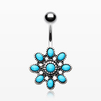 Vintage Turquoise Flower Belly Button Ring