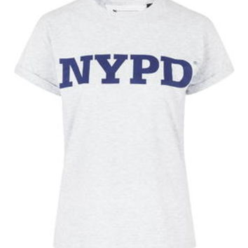 PETITE EXCLUSIVE NYPD Tee - Grey Marl